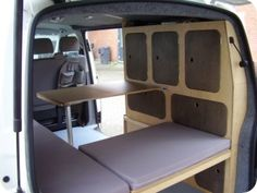 the table could be pushed into the floor or pulled out like this. the cupboard looking things would just be a wall serving as toilet and maybe shower. a sink would be right behind the passenger side. Truck Bed Camper, Camper Life, Vw Camper, Ford Transit Camper, Small Camper Vans, Mini Camper, Kangoo Camper, Transit Custom, Bus Interior