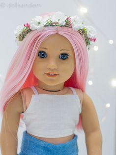 ivory flower crown for american girl dolls- by dollsandem on etsy