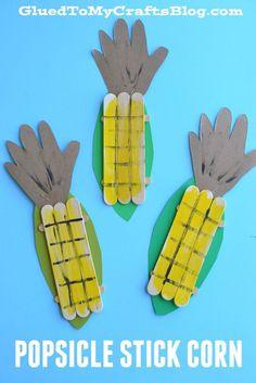 Popsicle Stick Corn - Kid Craft Toddler Crafts, Toddler Art, Art Activities, Senior Activities, Craft Sticks, Popsicle Sticks, Craft Stick Crafts, Farm Crafts, Daycare Crafts