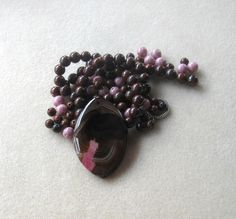Brown Agate Pendant, Obsidian Beads, Jasper Beads, Glass Beads, DIY Jewelry Kit, Jewelry Making Beads, Bead Kit, Gemstone Bead, Necklace Kit by CatsBeadKitsandMore on Etsy