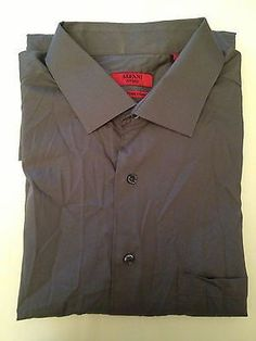 Alfani Fitted Easy Care Stretch Dress Shirt Olive 17 34/35