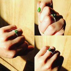Small pieces of home pebble ring. Pounamu/NZ Jade, silver.