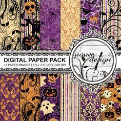 Halloween digital paper pack Background Scrapbook von Stilboxx