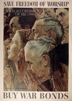 American Poster: Save Freedom of Worship.......... Buy War Bonds.