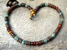 Mens surfer necklace, turquoise, aventurine, horn, jasper, wood and coconut shell, mens handmade beaded necklace, tribal surfer jewelry