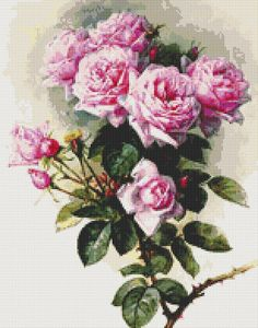 Roses and Bumblebees - Counted Cross Stitch CHART