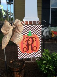 Custom Personalized Yard Sign Pumpkin Brown Chevron on Etsy, Fall Halloween, Halloween Crafts, Burlap Garden Flags, Yard Flags, Personalized Pillow Cases, Flag Stand, Burlap Crafts, Craft Night, Happy Fall Y'all