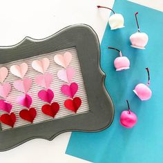 When in doubt always opt for #ombre  because ombre and #valentines go hand in hand.  Paper ombre via yours truly chocolate covered cherry ombre via the yummy @sharisberries  #allthedesserts #alltheombre #craftallthethings #valentinescrafts