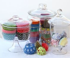 liners in glass jars - I really need to do this, my cupcake liner collection is out of control!