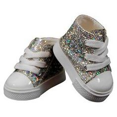 18 Inch Doll Clothes Accessory, Silver Sparkle Sneakers Plus Authentic Shoe Box : Target