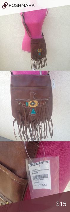 NWT Tilly's Brown Tribal Fringe Cross Body Bag Tilly's Brown Tribal Fringe Cross Body Bag  •New with tags•  ✨Every offer is considered!✨ Tilly's Bags Crossbody Bags