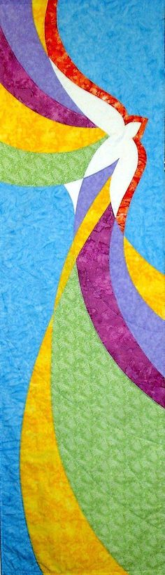 Holy Spirit banner shows dynamic movement. Great for Pentecost, confirmation, or any occasion invoking the Spirit. Have it made in the colors of your choice. Enliven your rituals. Church Banners Designs, Church Design, Holy Art, Stained Glass Quilt, Custom Banners, Christian Art, Religious Art, Art Plastique, Banner Design
