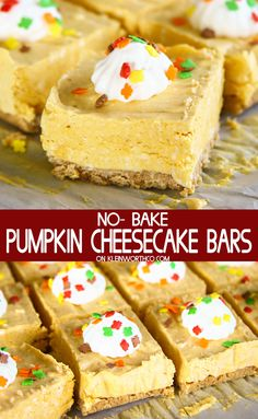 Bars are a simple & easy dessert recipe that's perfect for Halloween parties, Thanksgiving celebrations & more.Cheesecake Bars are a simple & easy dessert recipe that's perfect for Halloween parties, Thanksgiving celebrations & more. Dessert Simple, No Bake Desserts, Easy Desserts, Dessert Recipes, No Bake Pumpkin Cheesecake, Cheesecake Recipes, Healthy Cheesecake, Cheesecake Brownies, Raspberry Cheesecake