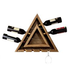 Triangular Cedar Wine Rack with Hanging Glass Storage and Integral Shelf Wood Wall Wine Rack, Jim Wood, Gifts For Wine Lovers, Recycled Wood, Unique Home Decor, Wood Projects, Crafty Projects, Inspiration, Glass