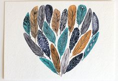 Feather Heart Painting  Watercolor Art  Archival by RiverLuna, $20.00