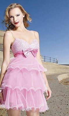 A-Line Spaghetti Strap Short Organza Prom Dress