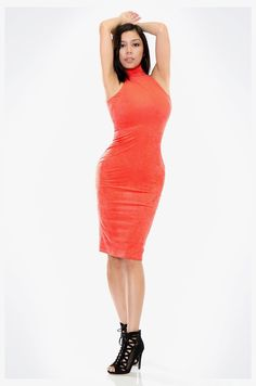 This sexy slim fit orange dress features the trending halter neckline that helps in making the dress stand out. The color of this dress is enough to catch everyone's attention and therefore does not have any other detailing. There is nearly an invisible zipper at the back. Materials: 90% Polyester, 10% Spandex
