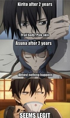 Sword Art Online (SAO) is an action, adventure and Sci-Fi series which is popular among anime fans due to its exploration of the virtual reality. Below is a list of 15 of the funniest Sword Art Online memes that we have collected for you to enjoy! Anime Meme, Otaku Anime, Sao Memes, Funny Memes, Funny Quotes, Hilarious, I Love Anime, Awesome Anime, Schwertkunst Online