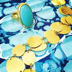 Just in: New @GURHANJewelry one of a kind pieces! #turquoise #gold #24karat #hammered #instagems #singlestonejewels #blue #necklace #ring #instajewels #justintimeforsummer #want #need #bezel #summer