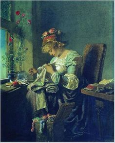 Embroiderer by Mihály Zichy (Hungarian, painter and graphic artist Sewing Art, Illustrations, Beautiful Paintings, Cross Stitching, Retro, Vintage Posters, Art History, Painting & Drawing, Needlework