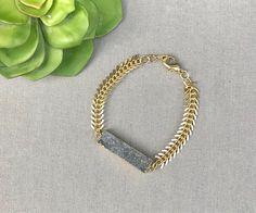 Druzy Bar Bracelet Gold Fishbone Bracelet Druzy Rectangle Cuff