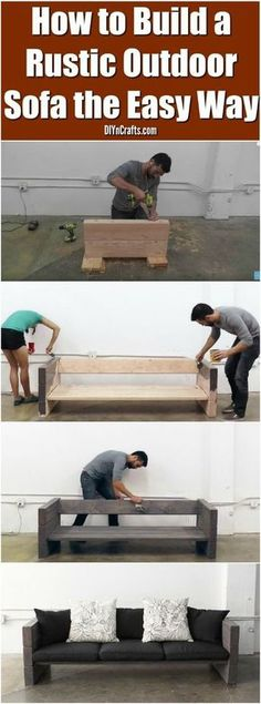 How to Build a Rustic Outdoor Sofa the Easy Way! This is a cool easy diy outdoor sofa project! You will love having this awesome diy furniture on your porch or in your backyard! Try making this simple rustic sofa today! Backyard Projects, Outdoor Projects, Diy Projects, Outdoor Ideas, Backyard Designs, Outdoor Signs, Pallet Ideas For Outside, Outdoor Stuff, Cool Diy