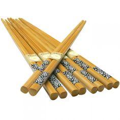 Bamboo Chopsticks Black Floral Pattern