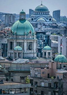 Serbian parlament building and Temple of Saint Sava - Belgrade, Serbia.