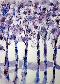 Purple Painting ORIGINAL Watercolor Abstract by PattisWatercolor, $28.00