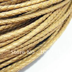 Free ship!!! High quality natural rown 3mm braided geunine leather cord round 50yards/roll US $71.23