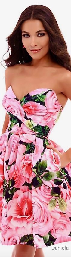 My Pinkilious Garden Party Floral Fashion, Colorful Fashion, Fashion Dresses, Semi Formal Attire, Spring Summer Fashion, Pink And Green, Strapless Dress, Feminine, Glamour