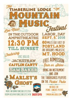 Timberline hosts the 4rd annual Mountain Music Festival, a free event on Labor Day, September 7, 2015, featuring indie folk, country and roots music bands.