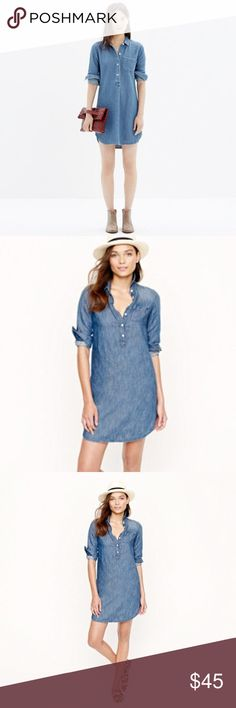 J. Crew chambray popover chambray shirt dress 10 PRODUCT DETAILS The ease of a tunic meets that had-it-forever feel of your favorite chambray. Our soft, drapey shirtdress is tailored in a lightweight blend of cotton and linen in a perfectly worn-in shade of indigo (thanks to meticulous hand sanding and rinsing).  Straight silhouette. Cotton/linen. Falls to midthigh. Long sleeves. Chest pocket. Machine wash. Import. J. Crew Dresses