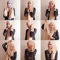 Such a cute hijab style. Tutorial Hijab Modern, Square Hijab Tutorial, Hijab Style Tutorial, Hijab Chic, Stylish Hijab, Casual Hijab Outfit, Islamic Fashion, Muslim Fashion, Hijab Fashion