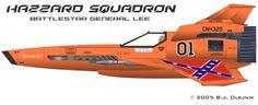 Battlestar Galactica / Dukes of Hazzard crossover - The Hazzard Viper Squadron of Battlestar General Lee