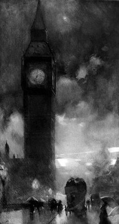Charcoal Drawing Art — William_Hyde_The_Clock_Tower_Westminster - Architecture Tattoo, Art And Architecture, Charcole Drawings, Charcoal Sketch, Clock Art, Arte Horror, Art Drawings, Pencil Drawings, Hipster Drawings