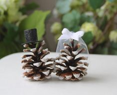 Mr and Mrs Pinecones Winter wedding cake toppers by LesNanaseries