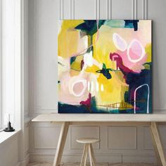 Abstract painting square abstract painting floral yellow