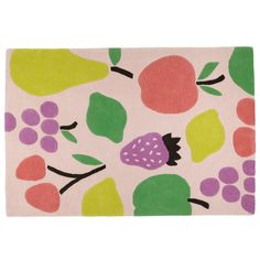 Shop Fruit Salad Kids Area Rug.  Our Fruit Salad kids area rug features colorful fruit on a pink background, perfect for your kids' room, nursery or playroom.  Shop kids area rugs now.