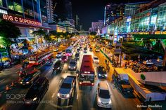 Bangkok Rush Hour Bangkok has serious traffic issues during rush hour it can take hours to get anywhere! This image is just a typical shot of colourful downtown Bangkok :-)