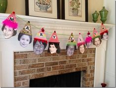 Pennant Banner - I usually hang pennant banners for parties, but wanted to do something special for Mom.  I cut out pictures of her throughout the years and made party hats this time…it was a hit!  Look at how adorable she is!