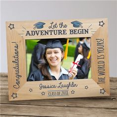 Personalized Engraved Graduation Adventure Wood Picture Frame