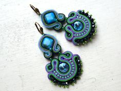 Earrings soutache with Swarovski Colorful Glamour! de Soutache4You