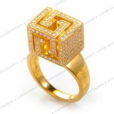 Versace 18K Yellow Full Diamond Pave Cube Ring