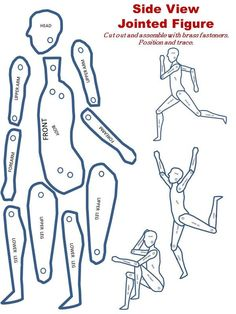 Human Figure Drawing FREE Printable Jointed Figure For Tracing Teaching Children To Pose and Draw The Human Form Middle School Art, Art School, Drawing Lessons, Art Lessons, Drawing Tips, Drawing Practice, Paper Dolls, Art Dolls, Drawing Proportions