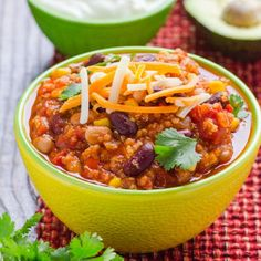 Quinoa Chili - You won't miss the meat in this one pan scrumptious chili. Or make it in the slow cooker for an easy weeknight dinner.