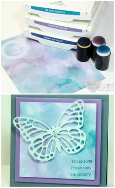 3 Ways to do Bokeh Technique - Luvin Stampin Card Making Tips, Card Making Techniques, Making Ideas, Stampin Up Anleitung, Butterfly Cards, Butterfly Template, Butterfly Dragon, Monarch Butterfly, Colouring Techniques