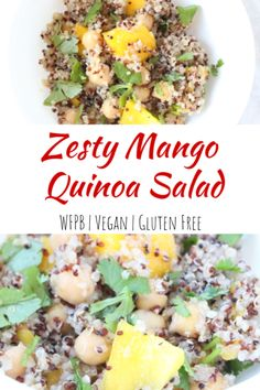 This Zesty Mango Quinoa Salad is perfect for a quick lunch or even WFPB dish to bring to your friend's summer BBQ or party even the meat-eaters will like! Mango Quinoa Salad, Quinoa Salad Recipes, Vegetarian Salad, Fruit Salad, Whole Food Recipes, Vegan Recipes, Free Recipes, Lunch Recipes, Dinner Recipes
