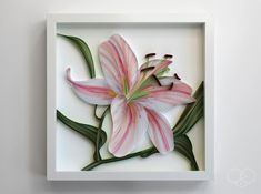 Another commission completed. Swipe for a closer look. STARGAZER LILY paper on white archival panel. 12 x 12 x in / 305 x 305 x… Arte Quilling, Paper Quilling Patterns, Quilling Paper Craft, Paper Crafts, Diy Crafts, Origami, Quiling Paper Art, Quilled Creations, Folded Book Art
