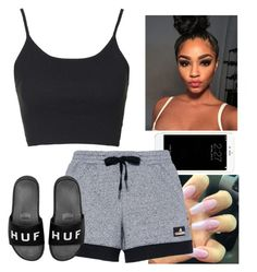 """""""Lazy days"""" by candyapplequeen ❤ liked on Polyvore featuring adidas, Topshop and HUF"""